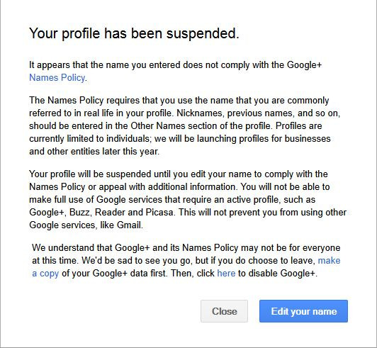 BLOGBloke suspended Google Plus
